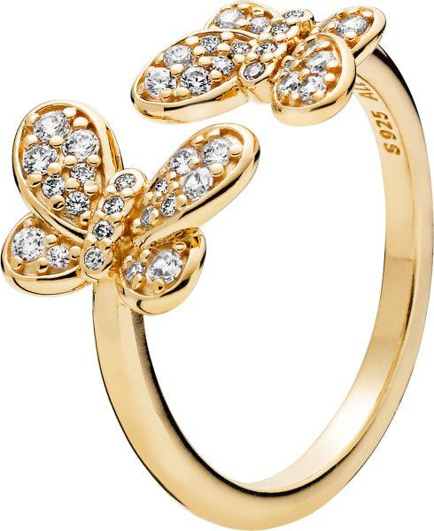 PANDORA SHINE SALE Ring 167913CZ Dazzling Butterflies Schmetterlinge Silber 18kt vergoldet