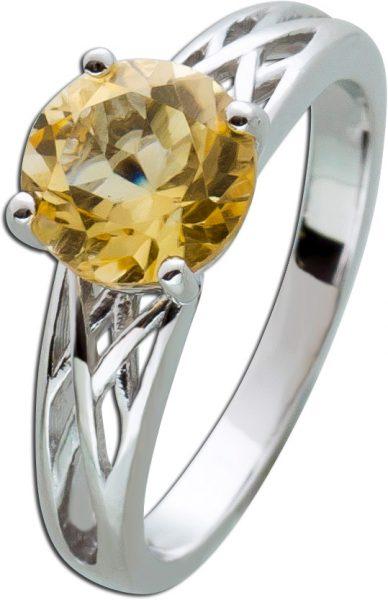 Gelber Citrin Edelstein Ring Silber 925 16-20mm