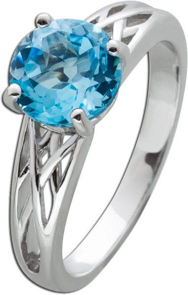 Blautopas Edelstein Ring Silber 925 facettiert Rundschliff 16-20mm