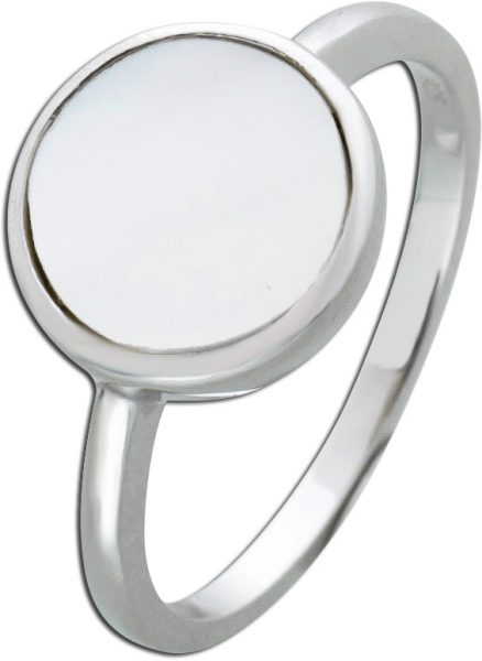 Cremefarbener Perlmutt Ring Silber 925 Edelstein 16-20mm