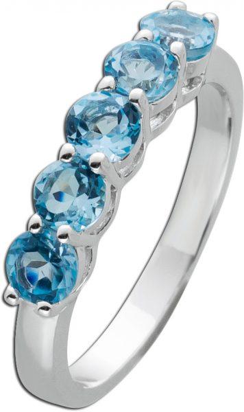 Blautopas Ring Silber 925 blaue Edelsteine facettiert 16-20mm