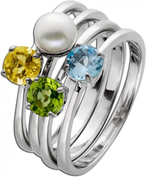 Edelstein Ring Silber 925 Schmuck Set 4-teilig Süsswasserperle