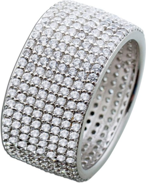 Breiter Zirkonia Ring Silber 925 Memoire Ring klare Zirkonia Damen 17-21mm