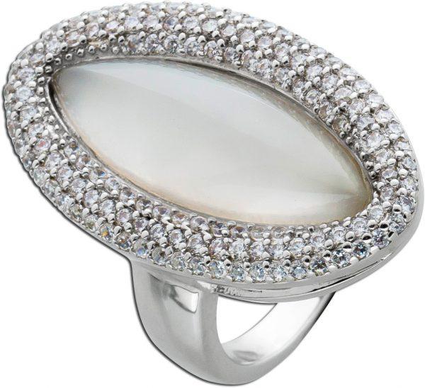 Edelstein Ring weißen Chalcedon Silber 925 Zirkonia Schmuck