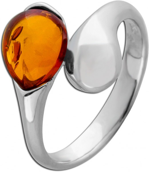 Brauner Bernstein Ring Silber 925 Cabochon Schliff Edelstein