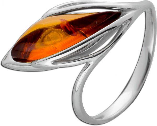 Cognacfarbener Edelstein Ring Silber 925 Bernstein Navette Cabochon 17-20mm