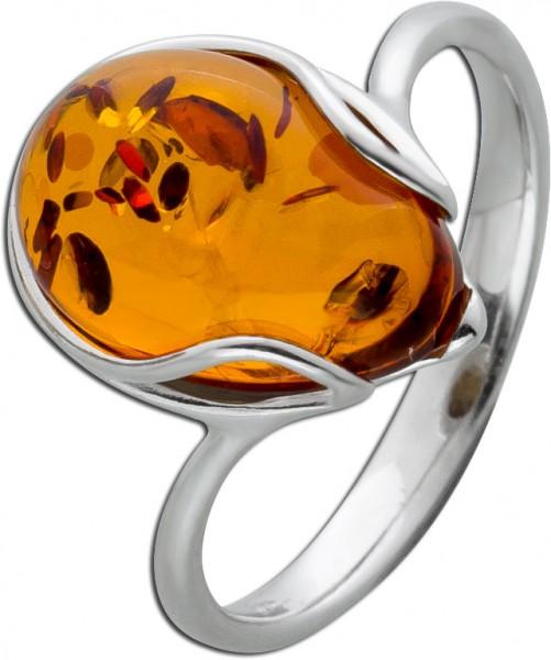 Brauner Bernstein Ring Silber 925 brauner Edelstein Cabochon Schliff