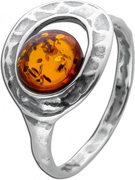 Brauner Bernstein Ring Silber 925 teils geschwärzt Edelstein Cabochon 17-20mm