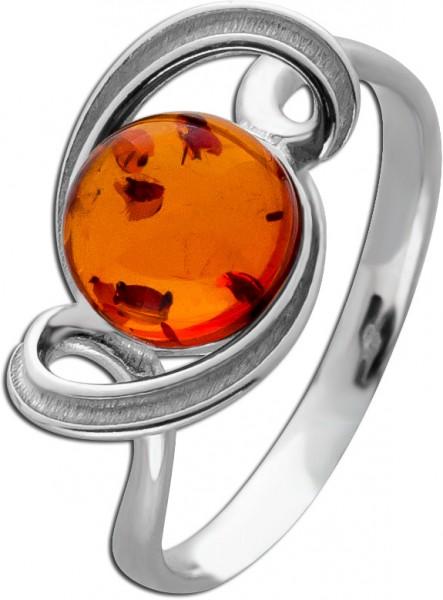 Edelstein Ring Silber 925 poliert mattiert brauner Bernstein Cabochon