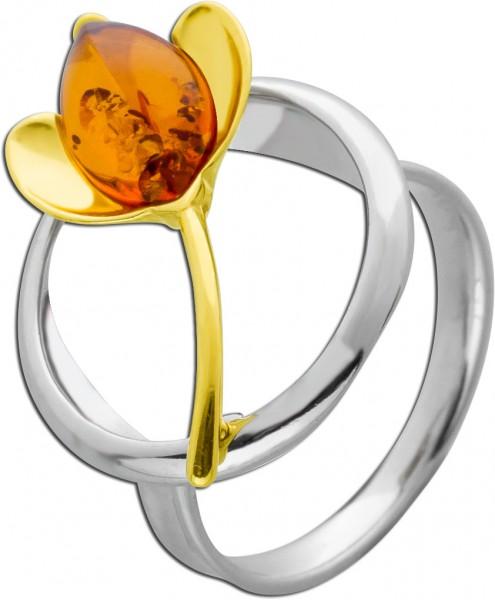 Blumen Edelstein Ring Silber 925 teils vergoldet brauner Bernstein Cabochon