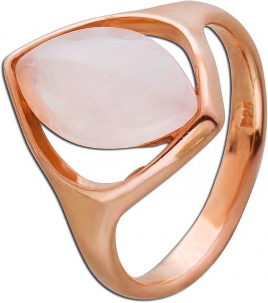 Rosa Edelstein Ring  Silber 925 rose vergoldet Rosenquarz