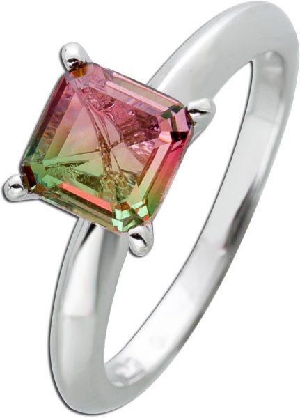 Quadratischer grün rosafarbener Zirkonia Ring Silber 925 Zirkonia Damenschmuck