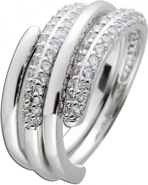 2-teiliges Ring Set weißen Zirkonia Silber 925 Zirkonia Schmuck Damenring