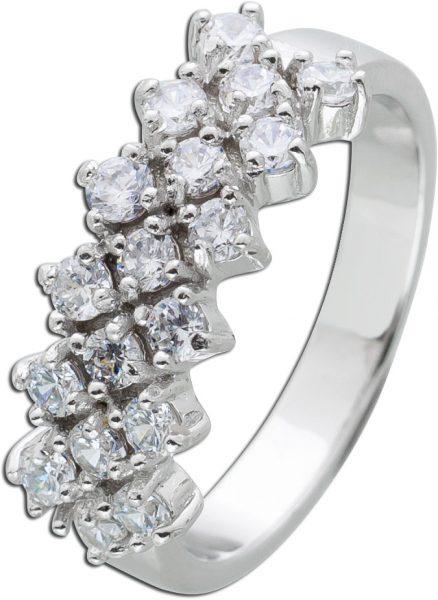 Zirkonia Ring weiß Silber 925 Zirkonia Schmuck Damenring