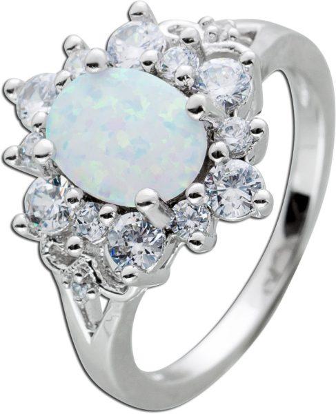 Opal Edelstein Ring Silber 925/- weisse Zirkonia ovaler synth. Opal 16-20mm