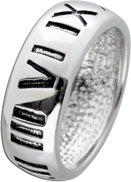 Römischer Ziffern Band Ring Silber 925/- teils geschwärzt  Gr 16-22 Unisex