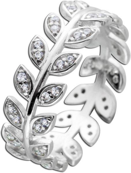 Blatt Ring weißen Zirkonia Silber 925 Damenring