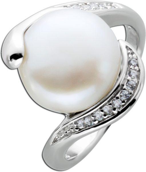 Perlen Ring Süßwasserzuchtperle weiß Ring Silber 925 Zirkoniaschmuck