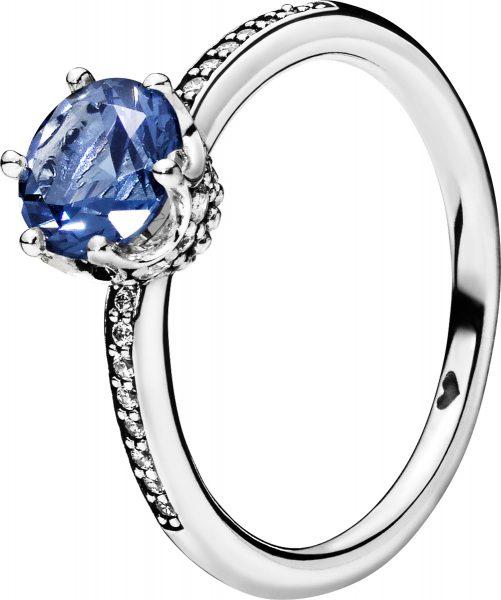 PANDORA SALE Ring 198289NSWB Blue Sparkling Crown blauer Solitär Kristall klare Zirkonia