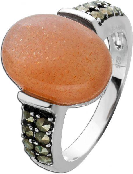 Ring pink ovalen Mondstein Silber 925  Markasit Steinen Edelsteinschmuck