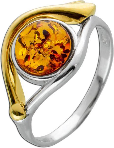 Bicolorer Bernstein Ring Silber 925/- teils vergoldet  Cognac Bernstein Edelstein 17-20mm