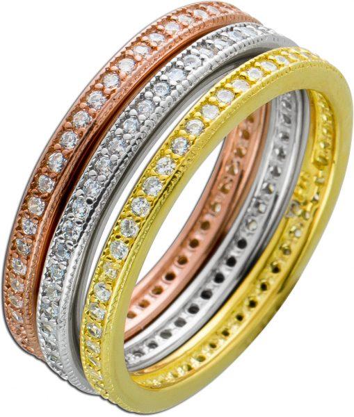 3-teiliges Ring Set Tricolor Silber 925 weißen Zirkonia Damen Ring