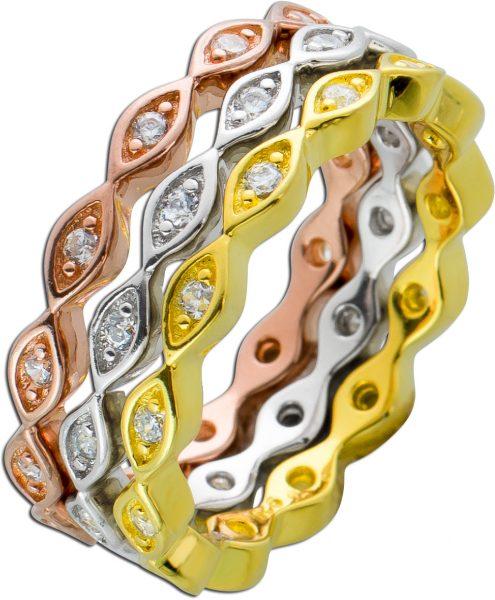 3-teiliges Ring Set rose gelb vergoldet rhodiniert Silber 925 Zirkonia weiß