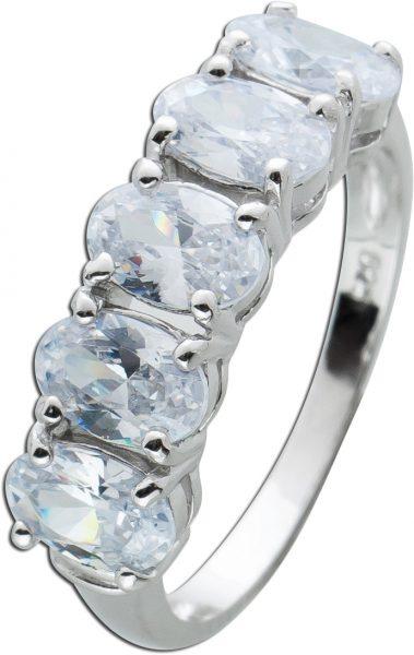 Ring weißen Zirkonia Steinen Silber 925 Damen Ring