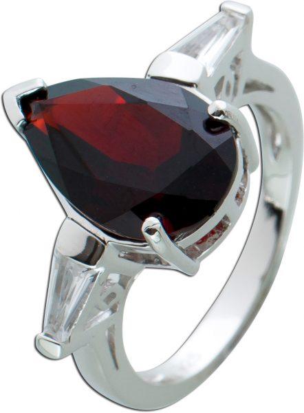 Edelstein Ring roten Granat Silber 925 weißen Topasen