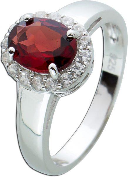 Roter Granat Ring Silber 925 weißen Zirkonia Edelsteinschmuck