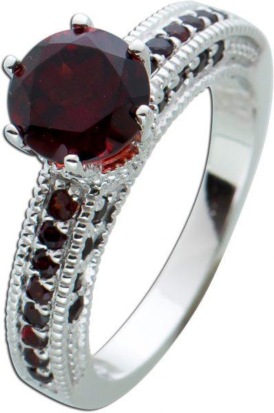 Roter Granat Ring Silber 925 Edelsteinring