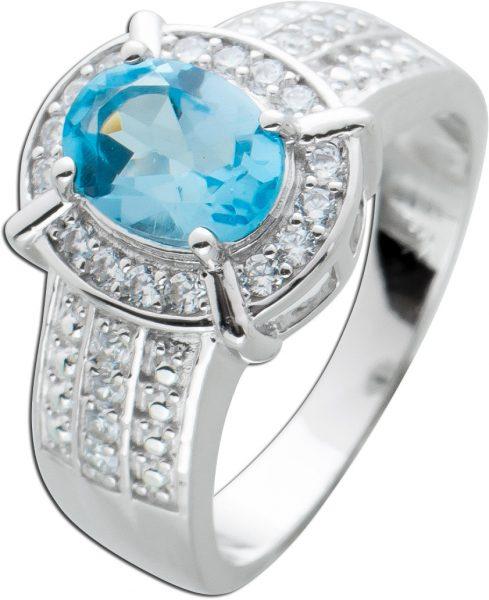 Edelstein Ring ovalen Blautopas Silber 925 weißen Zirkonia