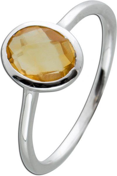 Gelber Citrin Ring Silber 925 Edelsteinschmuck