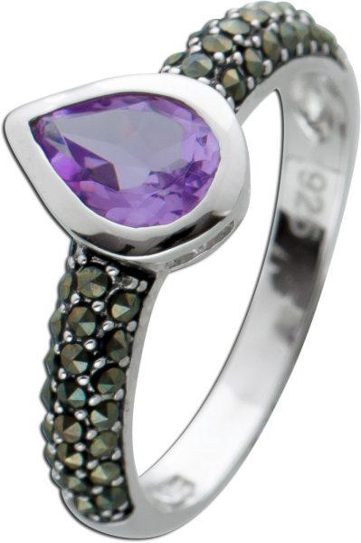 Tropfenförmiger Edelstein Ring Amethyst lila Silber 925 Markasit
