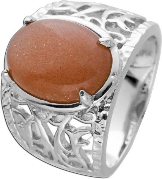 Pinker Mondstein Ring Silber 925 Edelsteinschmuck