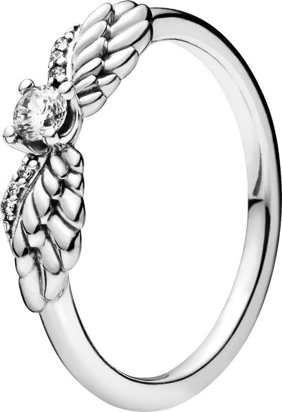 Pandora SALE Ring 198500C01 Non Stackable Sparkling Angel Wings