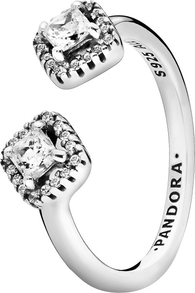 Pandora SALE Ring 198506C01 Non Stackable Square Sparkle Open Ring