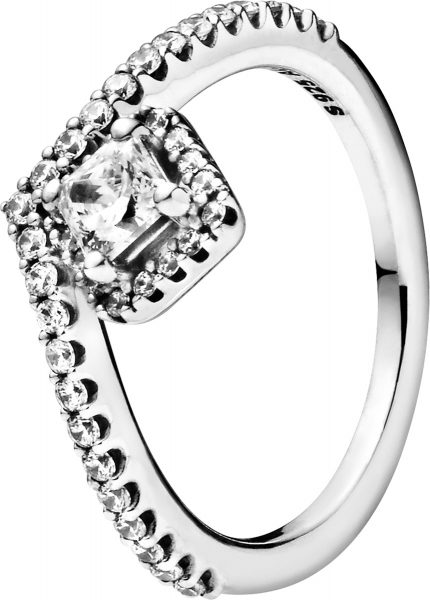 Pandora SALE Ring 198420C01 Non-Stackable Square Sparkle Wishbone Ring