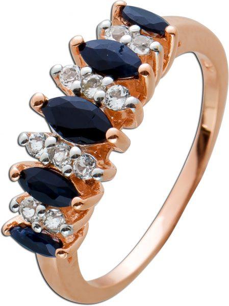 Ring Silber 925 rose vergoldet blaue Saphire weisse Topase