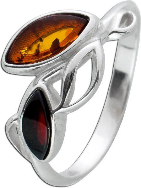Bernstein Ring Sterling Silber 925 Braun rote Edelsteine Bernstein Cognac-/Cherryfarben Navette Cabochon 17-20mm
