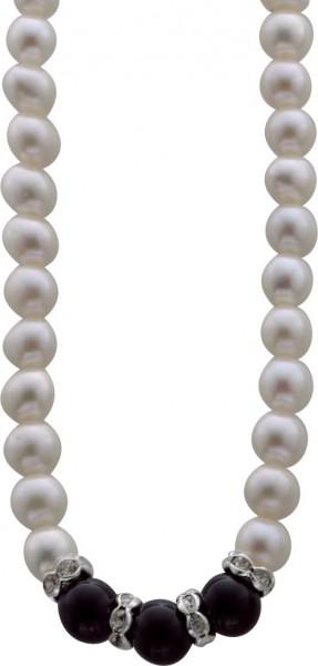 Perlenkette – Perlenset 2-teilig bestehend aus Perlencollier 42cm +7cm Verlängerungskette und dehnbarem Ring (Einheitsgröße) aus echten, wunderschön glänzenden weißen Süßwasserzuchtperlen (ca. 5-8mm), Onyxkugeln (ca. 3,5-8,5mm) und weißen, funkelnden Kris