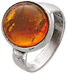 BernsteinSilberring. Ring mit echtem, wunderschönen braunen Bernstein, fein eingearbeitet in echtem 925/- Silber Sterlingsilber, nach unten verjüngende Ringschiene, rhodiniert (Weißgold-Look) und hochglanzpoliert. Durchmesser Stein ca. 11,9 mm, Breite ca.