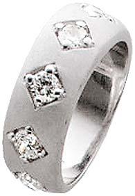 Zirkoniaring. Ring mit 5 wunderschön funkelndem weißen Zirkoniasteinen in quadratischer Form aus echtem Silber Sterlingsilber 925/- mit gleichbleibender Ringschiene. Die Oberfläche ist rhodiniert (Weißgoldlook) und mattiert. Ringkopfbreite ca. 22 mm, Brei