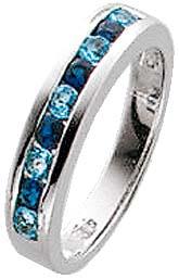 Ring in Silber Sterlingsilber 925/-, mit 9 blauen wie Diamanten funkelnden Zirkonia. In den Größen 16-20mm erhältlich. Mit gleichbleibender Ringschiene. Ring ca. 4mm breit. Der Hitpreis aus Stuttgart! Die Nr. 1 für Gold, Silber und Edelsteine!