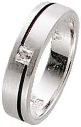 Zirkoniaring. Ring mit wunderschön funkelndem weißen Zirkoniastein aus echtem Silber Sterlingsilber 925/- im mit gleichbleibender Ringschiene. Die Oberfläche ist rhodiniert (Weißgoldlook) und mattiert. Ringkopfbreite ca. 20 mm, Breite ca. 4 mm, Stärke ca.