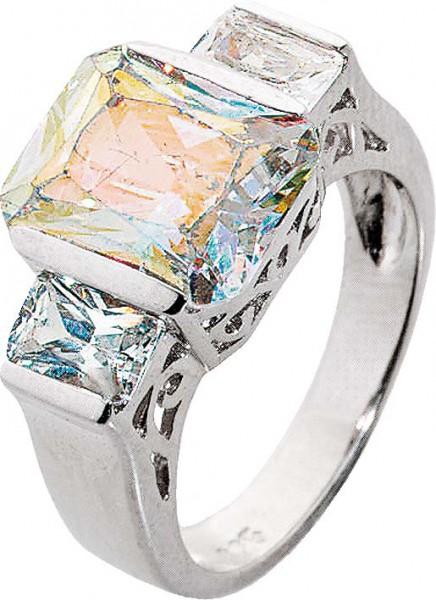 Silberring. Traumhafter Ring aus echtem Silber Sterlingsilber 925/- mit  wunderschön funkelnden Ice Crystal Zirkonia im exklusiven Design. Ringkopfbreite ca. 20 mm, Breite ca. 6 mm, Stärke ca. 1,5 mm, mit leicht nach unten verjüngenden Ringschiene, rhodin