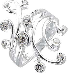 Designerring mit 9 wie Diamanten funkelnden Zirkonia, hochglanzpoliert und rhodiniert aus echtem Silber Sterlingsilber 925/-. Mit nach unten verjüngender Ringschiene. Ringkopfbreite ca. 32,0mm. Hitpreis Stuttgart! In Premiumqualität von Deutschlands größt