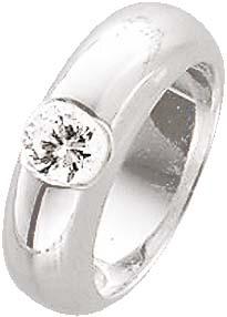 Zirkonia-Ring. Funkelnder Zirkonia (ca. 6 mm) fein eingearbeitet in echtem Silber Sterlingsilber 925/- mit gleichbleibender Ringschiene. Die Oberfläche ist rhodiniert (Weißgoldlook) und hochglanzpoliert. Ringkopfbreite ca. 24 mm, Breite ca. 6,5 mm, Stärke