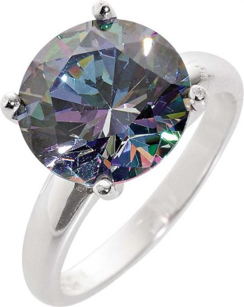 Silberring. Ring aus echtem Silber Sterlingsilber 925/- mit  wunderschön funkelnden, grauen Ice Crystal Zirkonia im absoluten Topdesign. Durchmesser Stein ca. 10 mm, Breite ca. 5 mm, Stärke ca. 1,2 mm. Ein Schmuckstück alle, die Silber und das Funkeln lie