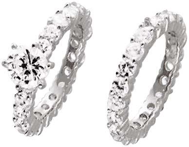 Silberringset 2-teilig, mit 43 wie Diamanten funkelnden Zirkonia, rundum gefasst, hochglanzpoliert und rhodiniert aus echtem Silber Sterlingsilber 925/- Mit gleichbleibender Ringschiene. Ringkrone 6,9mm, Breite 2,4mm, Stärke 2,7mm pro Ring. Hammerpreis St